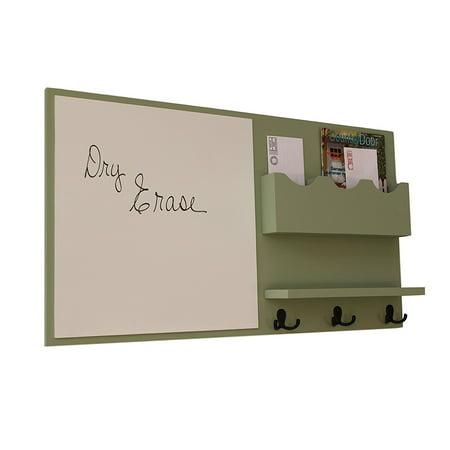 Message Center with Whiteboard & Mail Slots, Coat Hooks, Shelf & Mason Jar