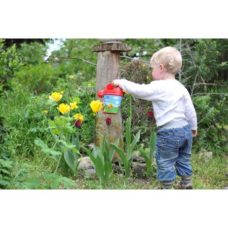 - LAMINATED POSTER Boy Watering Child Kid Garden Flower Poster Print 24 x 36
