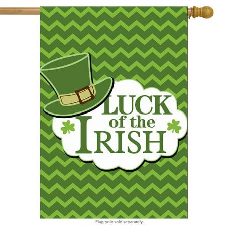 Luck Of The Irish St. Patrick's Day House Flag Leprechaun Hat Shamrocks 28