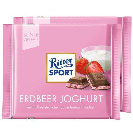 Ritter Sport Strawberry Yogurt Chocolate Bar Candy Original German Chocolate 100g/3.52oz (Pack of (Germany Candy)