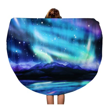 SIDONKU 60 inch Round Beach Towel Blanket Alaska Northern Lights Aurora Borealis Dramatic Landscape Polar Universe Travel Circle Circular Towels Mat Tapestry Beach Throw 5008 Hydronic Towel Radiator
