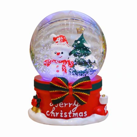 Akoyovwerve Christmas Musical Snow Globe Floating Snow Ball with music Table Top Decoration, -