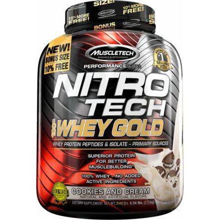 MuscleTech Nitro Tech 100% Whey Gold Protein Supplement Powder for Musclebuilding, Cookies and Cream 6lb 100% Whey Gold Cookies
