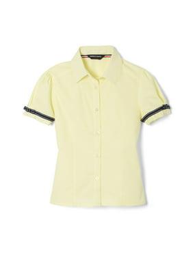 French Toast Girls 4-20 School Uniform Short Sleeve Ribbon Bow Blouse