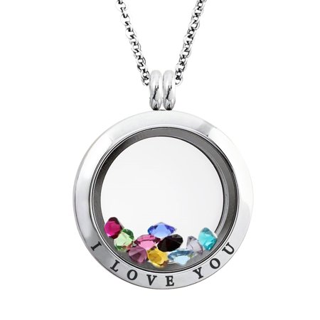 25 MM Stainless Steel I Love You Engraved Floating Glass Charm Locket Pendant Necklace