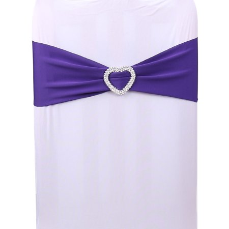 Spandex Stretch Heart Decor Wedding Banquet Chair Cover Sash Bands Dark