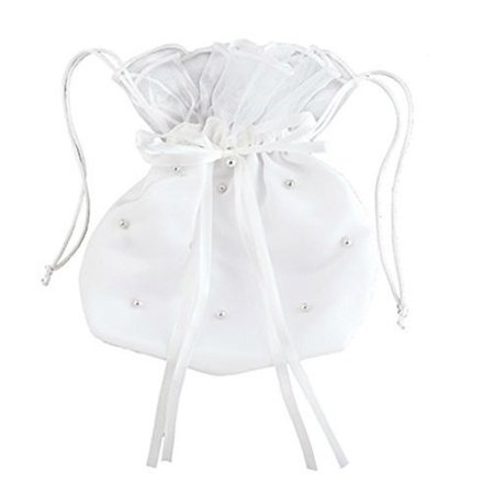CB Catholic YT079 First Communion Pearl Drawstring Purse