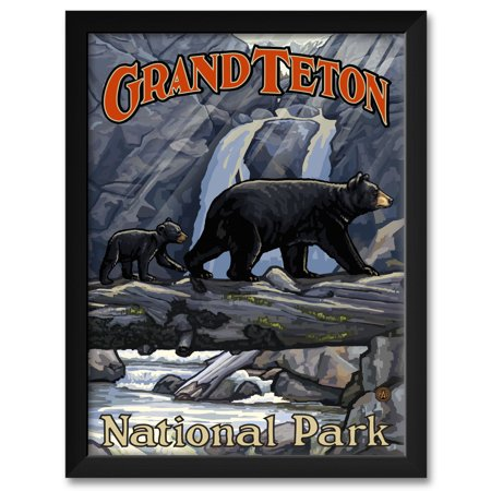 Grand Teton National Park Bears On Log Framed Art Print by Paul A. Lanquist. Print Size: 18