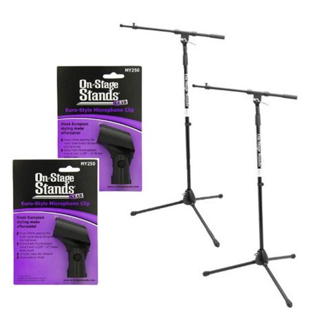 Ms7701b Boom Microphone Stand - 2 On Stage MS7701B Professional Tripod Microphone Stands with 30