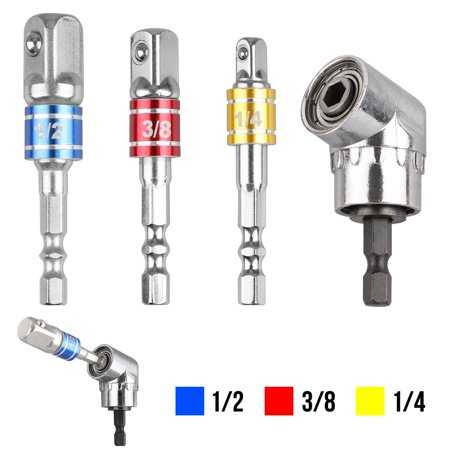 Screwdriver Bit Sets + 90° Drill Bit Adapter, 3-Piece 1/4