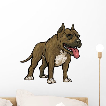 Dog Breeds Pitbull Wall Decal Sticker by Wallmonkeys Vinyl Peel and Stick Graphic for Girls (18 in W x 18 in (Dog Breed Window Decals)