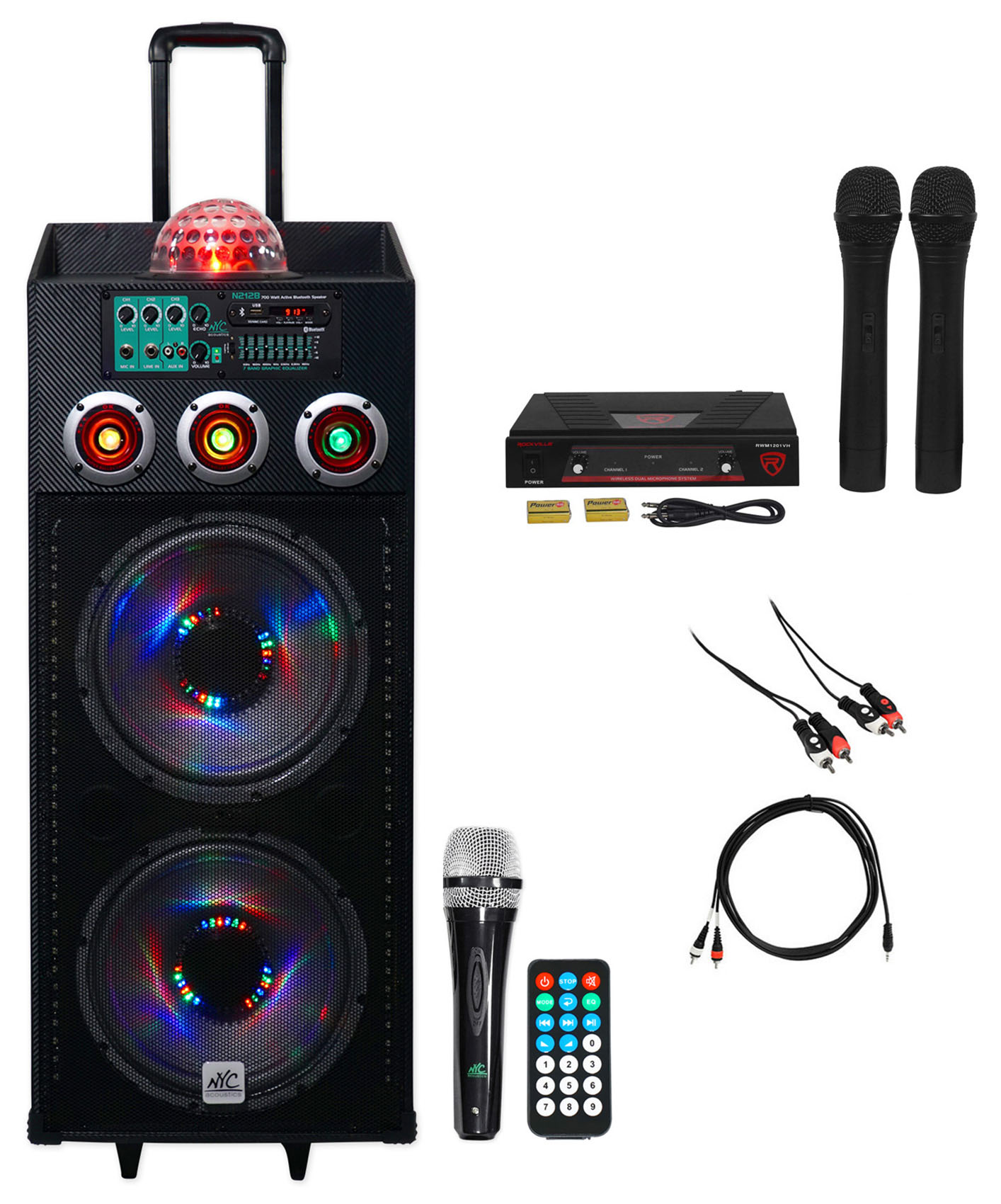 "NYC Acoustics Dual 12"" Karaoke Machine System w 2) Mics 4 ipad iphone Android TV by NYC ACOUSTICS"