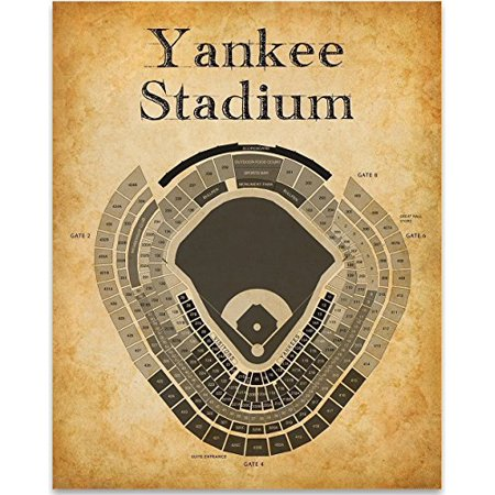 Yankee Stadium Baseball Seating Chart Art Print - 11x14 Unframed Art Print - Great Sports Bar Decor and Gift for Baseball (Best Seats At Yankee Stadium For Baseball)