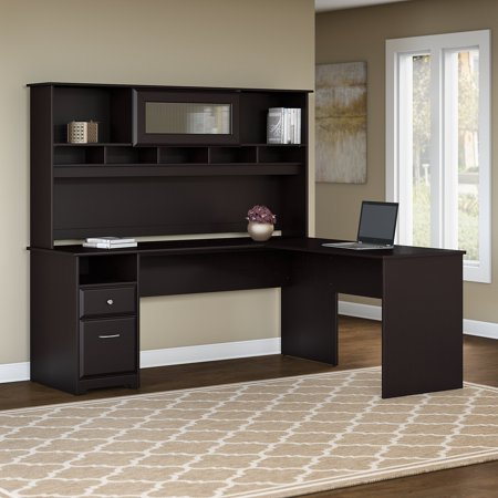 the latest a706a 10f82 Bush Furniture Cabot 72W L Shaped Computer Desk with Hutch and Drawers in  Espresso Oak