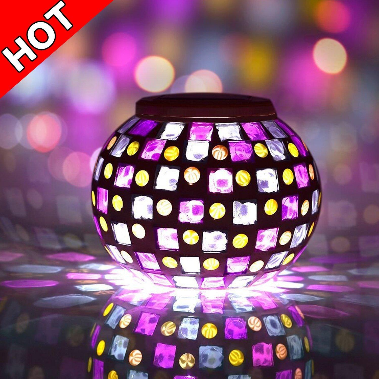 "Senboweâ""¢ Solar Powered Mosaic Glass Ball LED Garden Lig..."
