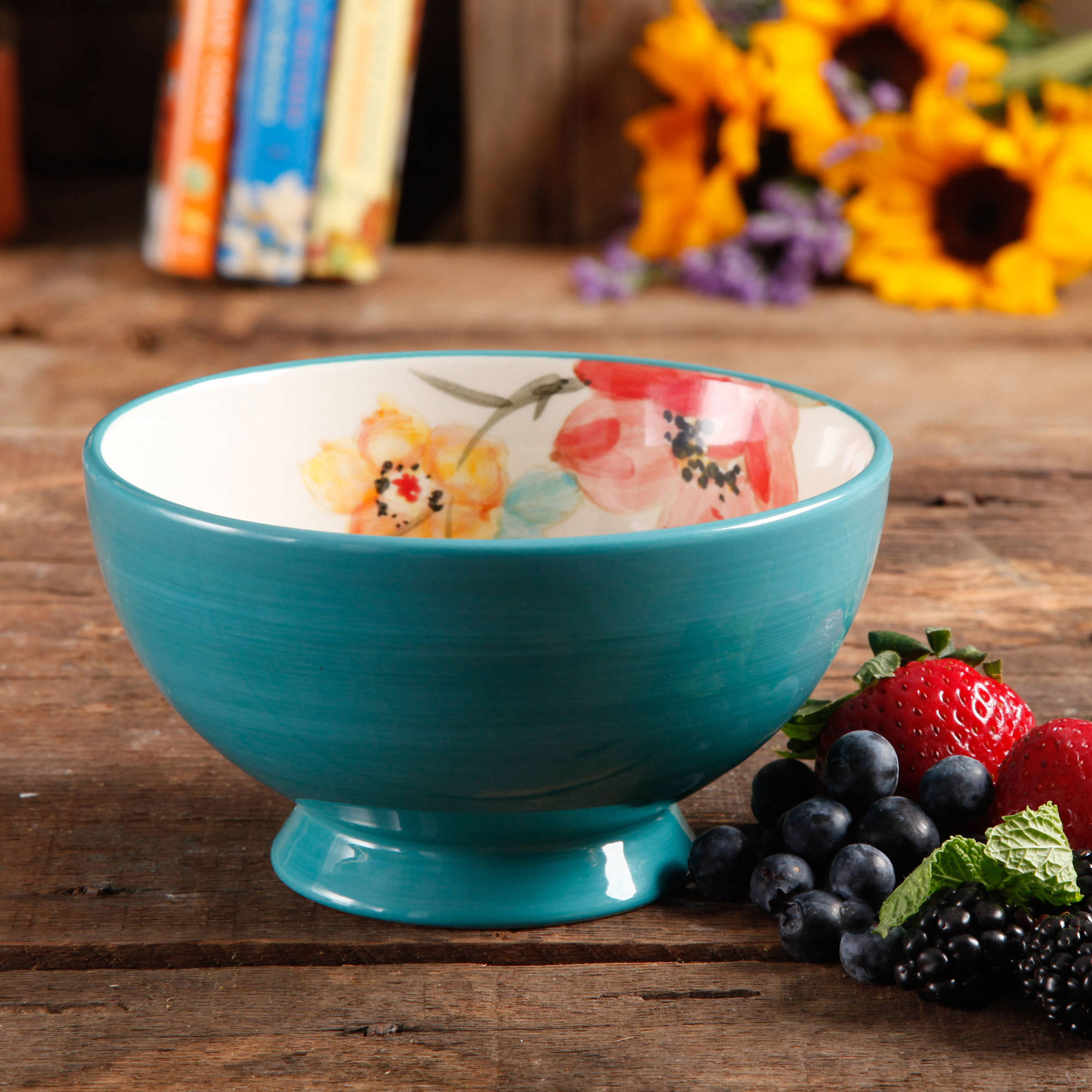 "The Pioneer Woman Flea Market 6"" Decorated Footed Bowls, Turquoise & Floral, Set of 4"