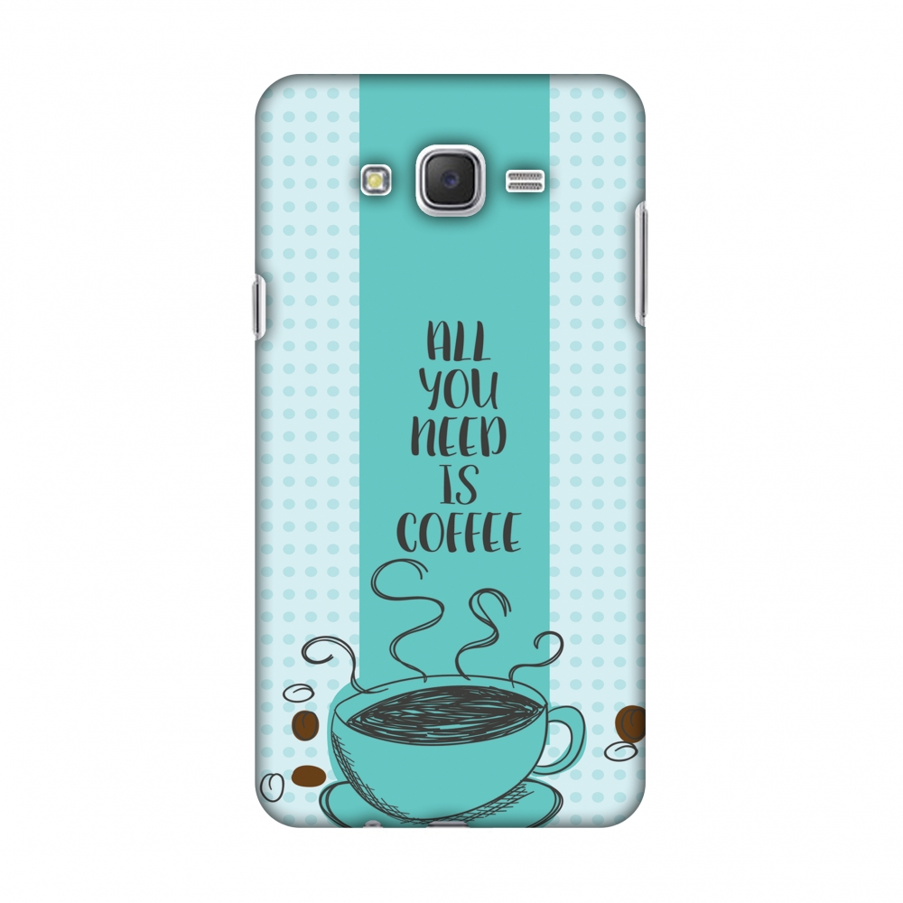 Samsung Galaxy J7 Case, Premium Handcrafted Designer Hard Shell Snap On Case Shockproof Printed Back Cover with Screen Cleaning Kit for Samsung Galaxy J7 J700F, Protective - All You Need Is Coffee