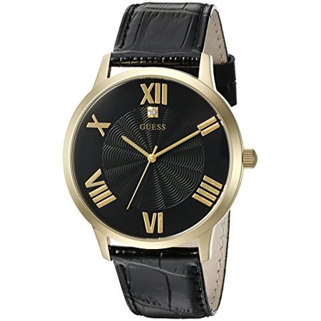 Dressy Leather Watch - Men's U0794G1 Dressy Gold-Tone Watch Plain Black Dial and Genuine Leather Strap Buckle