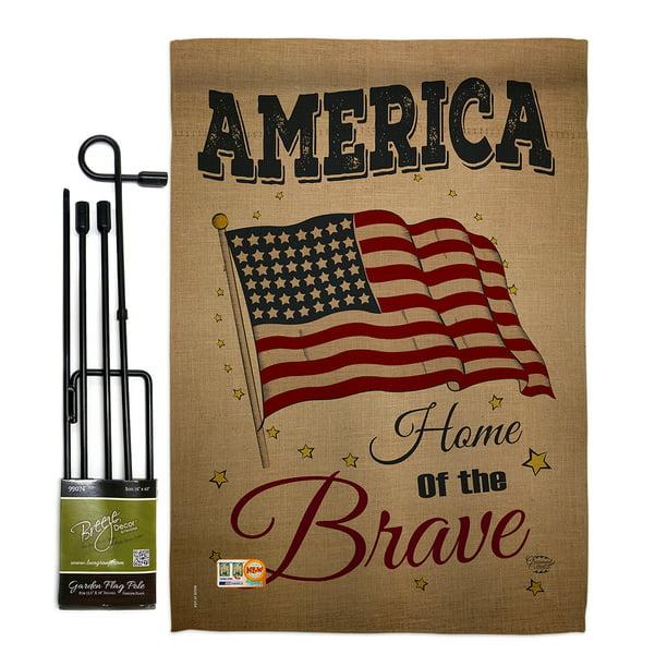 America Home Of The Brave Americana Patriotic Impressions Decorative Vertical 13 X 18 5 Double Sided Garden Flag Set Metal Pole Hardware Walmart Com Walmart Com