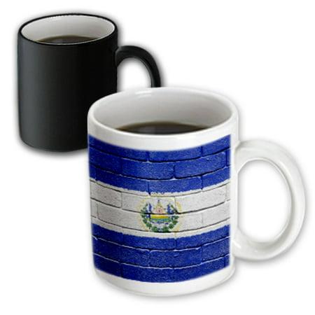 3dRose National flag of El Salvador painted onto a brick wall Salvadorian, Magic Transforming Mug, 11oz