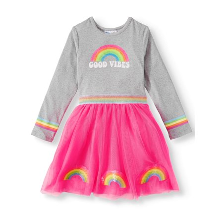 Freestyle Revolution Long Sleeve Rainbow Tutu Dress (Toddler Girls) ()