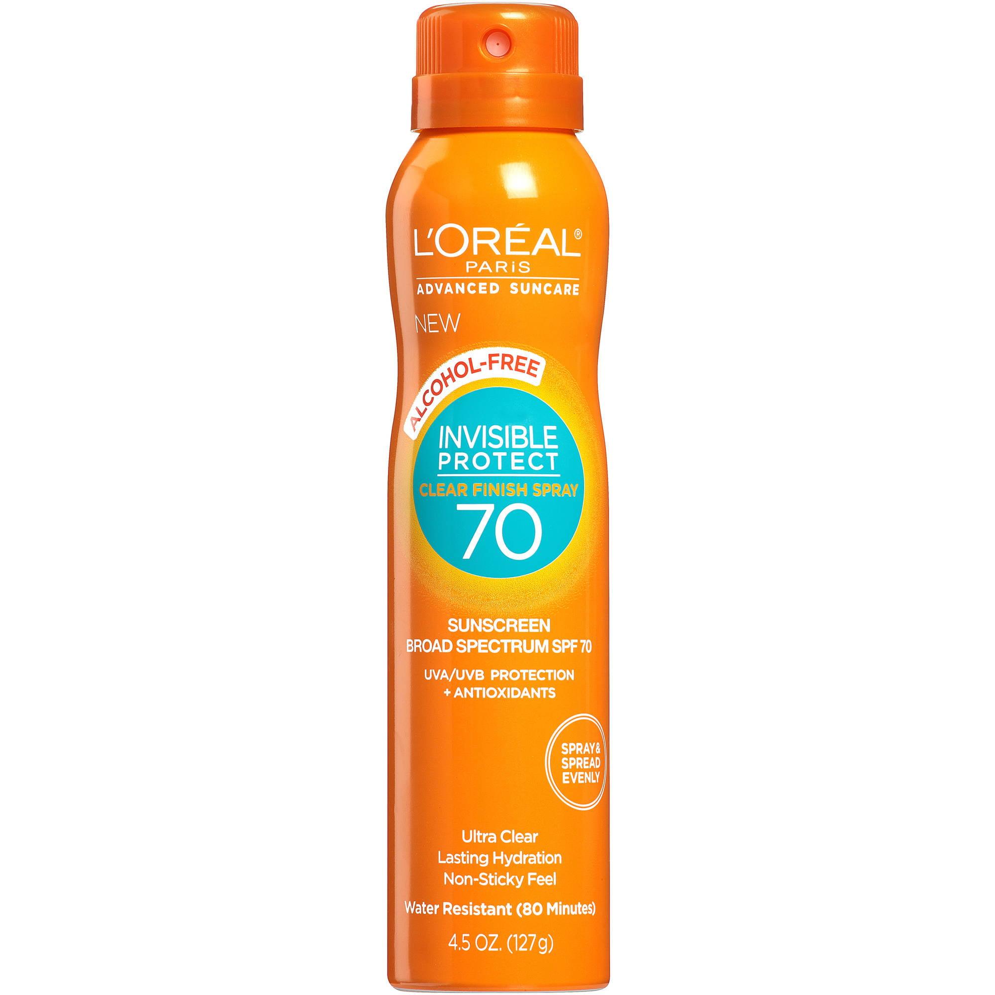 L'Oreal Paris Advanced Suncare Invisible Protect Clear Finish Spray Sunscreen, SPF 70, 4.5 oz