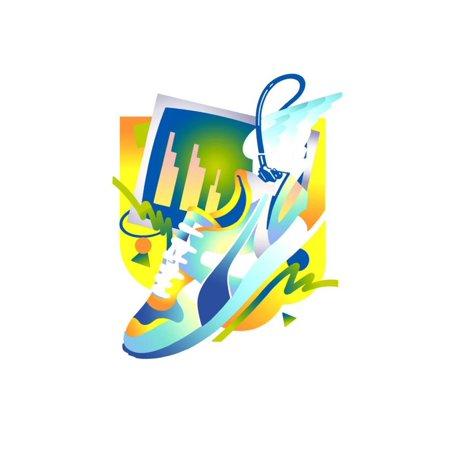 Sports Shoe and Bar Chart Laminated Print Wall Art By David Chestnutt
