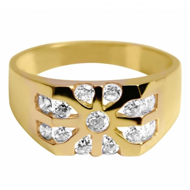 Precious Stars JTSRM-10K46 10k Yellow Gold Mens Cubic Zirconia Starburst Wedding Band