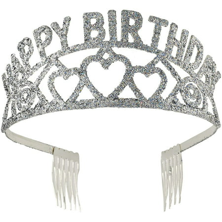 Cp Silver Sparkling Glitter Tiara Happy Birthday With Hearts