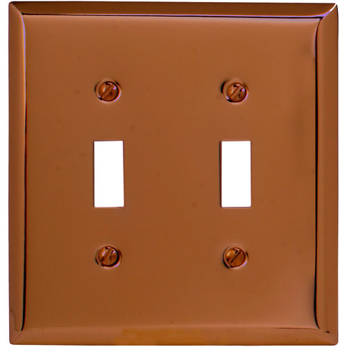 Elumina Traditional Steel Antique Copper Wallplate, Double Toggle
