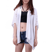 HDE Women's Plus Size Open Front Kimono Cardigan Loose Lace Sleeves Blouse Top (Cream, 1X)