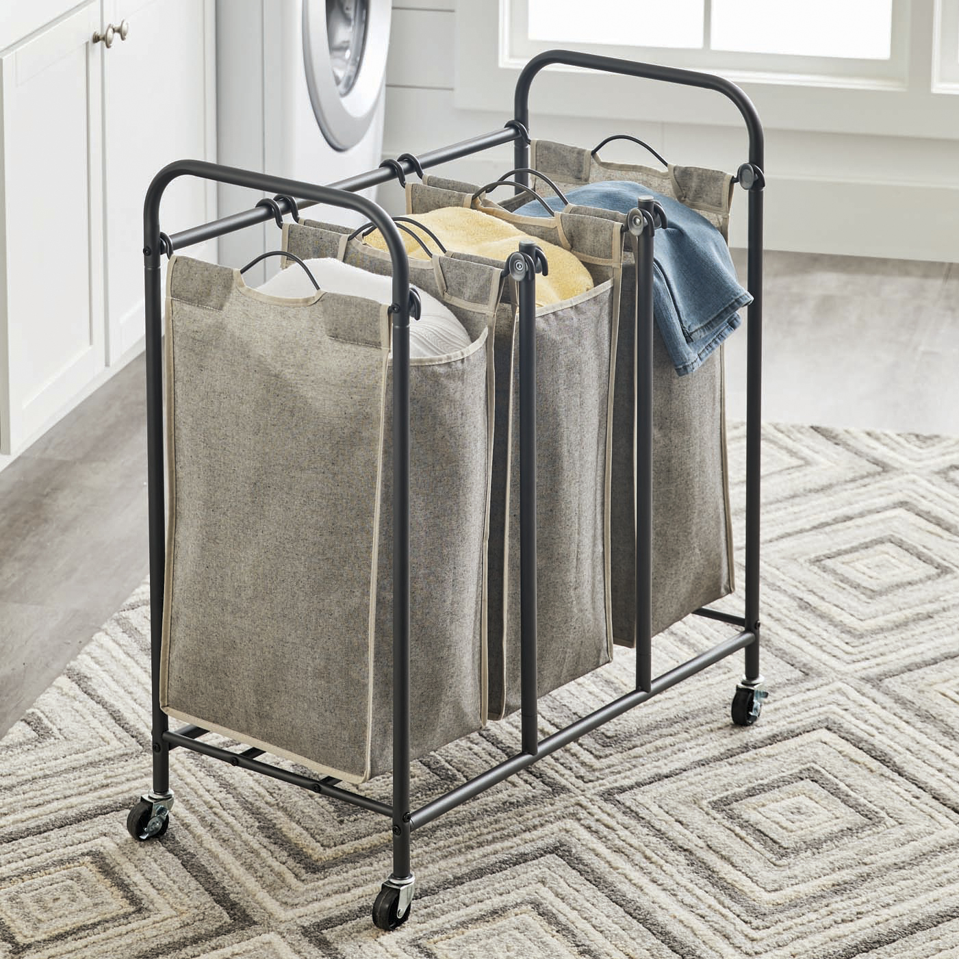 Better Homes & Gardens Gunmetal Grey Rolling 3 Bag Laundry Sorter