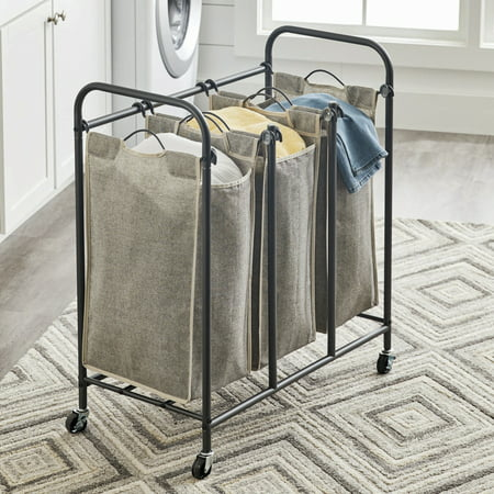 Better Homes & Gardens Gunmetal Grey Rolling 3 Bag Laundry Sorter ()