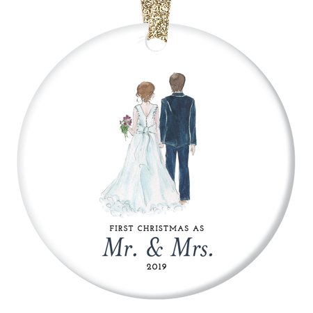 Bride & Groom Ornament 2019, First Christmas as Mr. & Mrs. Ornament, First Married Christmas, Wedding Gift 3