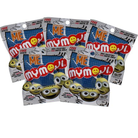 Funko MyMoji - Minions Emoticons Faces - Blind Packs (5 Pack Lot) (1.5 in) - Minion Blonde Wig