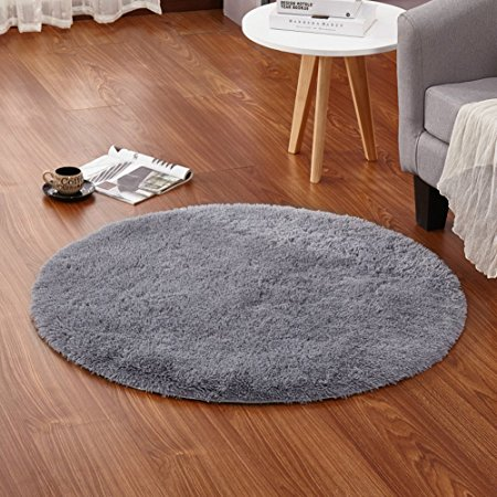 4-Feet Round Area Rugs Super Soft Living Room Bedroom Home Shag Carpet (Gray)