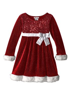 b63fa341043 Product Image Little Girls 2T-6X Red White Sequin Bodice Sparkle Knit Santa  Dress