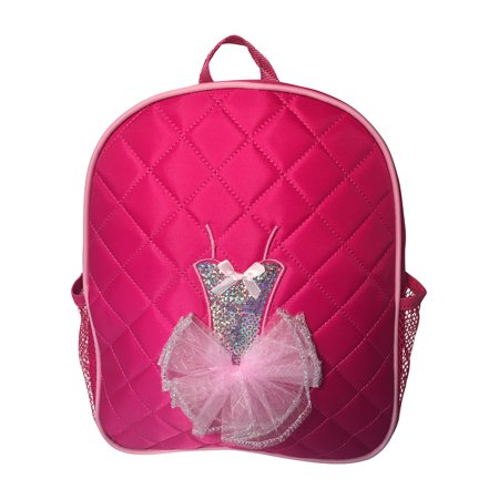 Dance Backpack Quilted Sequin Ballerina Tutu Backpack Medium Girls 4-9 Fuchsia - Sequin Pink Backpack