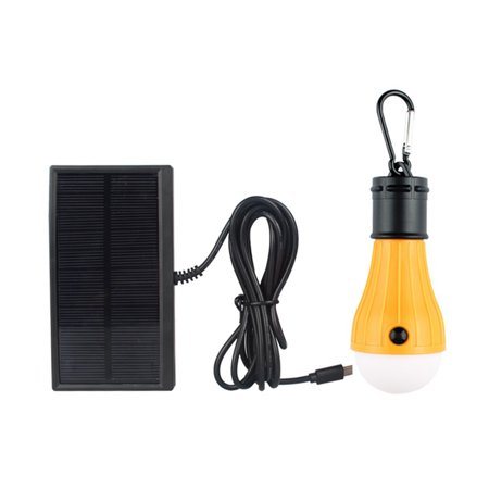 DC5V 2.5W 3 LED Solar Powered Energy Light Bulb with Solar Panel Strong Bright/ Weak Bright/ Flash 3 Lighting Modes Effects USB Charging Port Design IP55 Water Resistance Built-in 1000mAh High