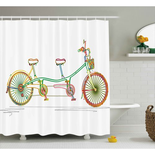 Ebern Designs Laurie Ative Colorful Tandem Bicycle Design on White Background Pattern Clipart Style Print Shower Curtain
