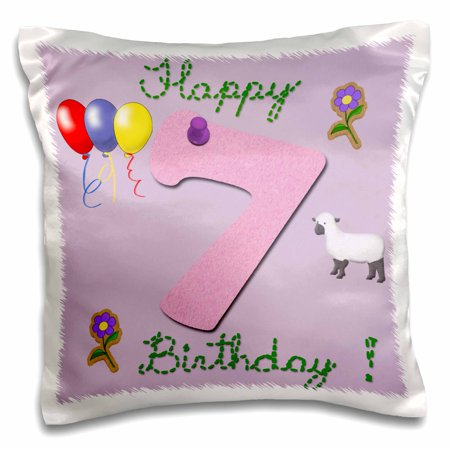 3dRose Happy seventh birthday. Digital scrapbook design for girls with a pink felt looking number seven, Pillow Case, 16 by 16-inch