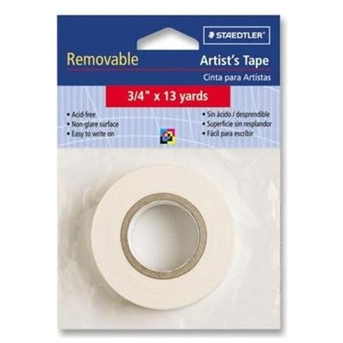 "Staedtler Artist Tape - 0.75"" Width X 39 Ft Length - Cotton - Removable, Acid-free, Writable Surface - 1 / Roll - White (999172A0)"