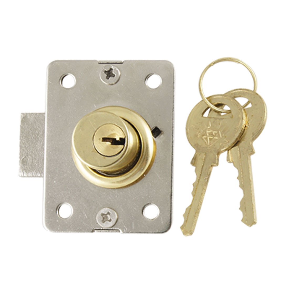 "3/5"" Cylinder Diameter Locker Deadbolt Cabinet Lock and Key Drawer Gold Tone"