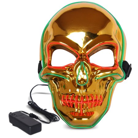 Halloween LED Mask Purge Masks with Lighten EL Wires Scary Light Up Cosplay Costume Mask Battery-operated Glowing Creepy Skull Mask Gold (Scary Halloween Masks To Print)