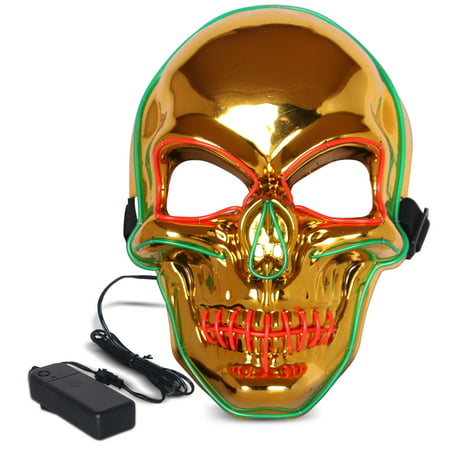 Halloween LED Mask Purge Masks with Lighten EL Wires Scary Light Up Cosplay Costume Mask Battery-operated Glowing Creepy Skull Mask Gold (Scary Halloween Drawings)