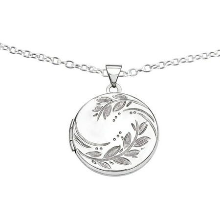 Sterling Silver 20mm Round Leaf Floral - Floral Family Locket