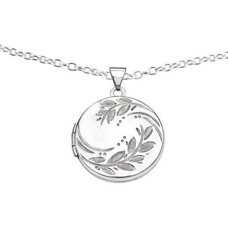 Sterling Silver 20mm Round Leaf Floral Locket