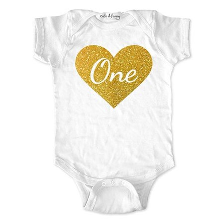 First Birthday Girl Bodysuit Outfit with Age One in Heart - Script Font with Gold Glitter - Design2 - cute & funny baby one piece - First Birthday Onesie