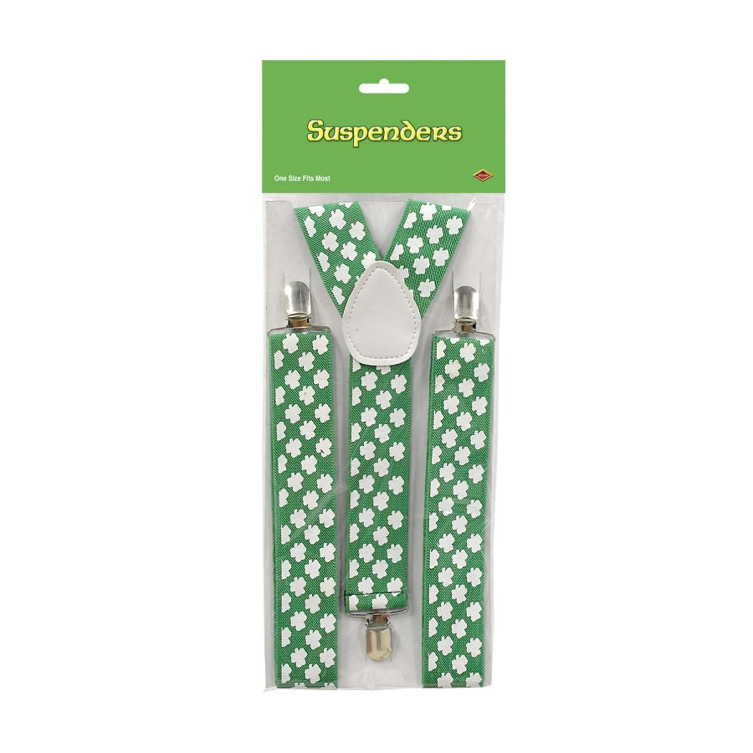 Club Pack of 12 Adjustable St.Patrick's Day Shamrock Suspender Costume Accessories