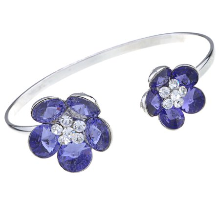 - Silver Tone Double Floral Daisy Pretty Crystal Element Bracelet Bangle